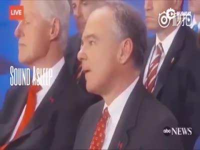 希拉里演讲 比尔·克林顿听睡着