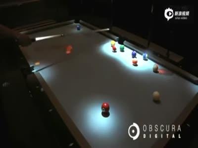 超炫酷交互投影台球桌 桌球滚动惊起绚丽波纹