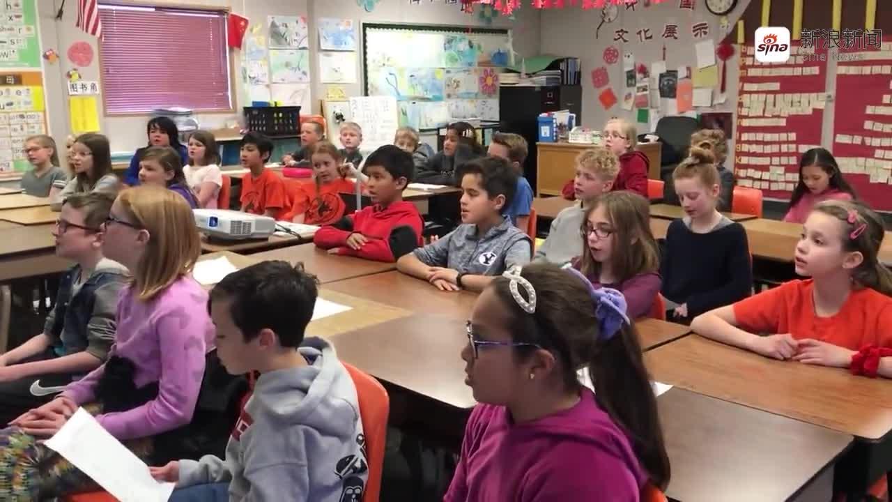 """视频:美国卡斯卡德小学四年级学生为中国战""""疫""""加"""
